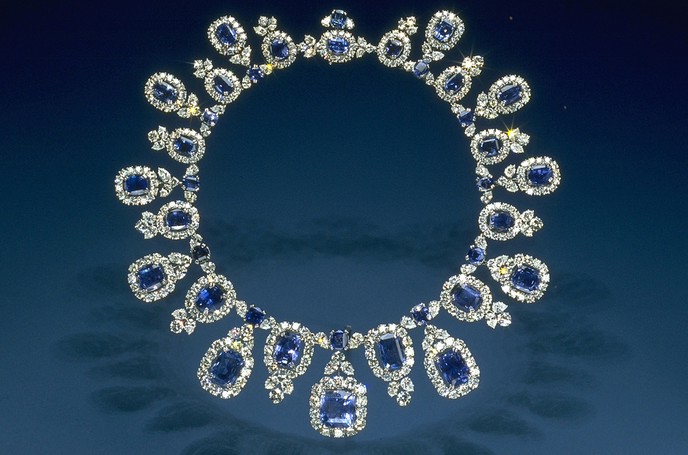 Click photo to download. Caption: A sapphire and diamond necklace. Credit: Chip Clark, Smithsonian staff via Wikimedia Commons.