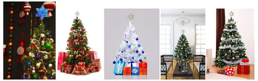 Click photo to download. Caption: Hanukkah tree toppers. Credit: MyTreeTopper.com.