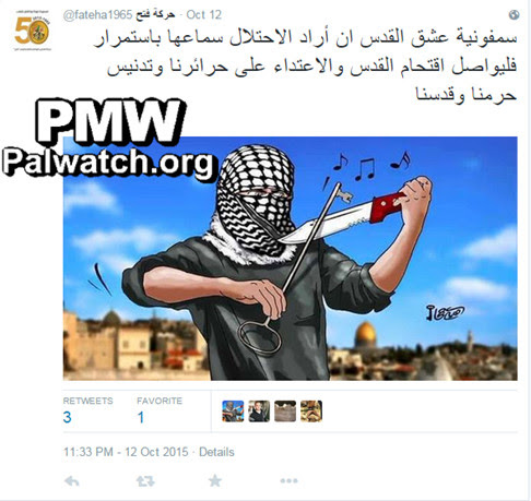 The threatening image tweeted by Fatah. Credit: Twitter via Palestinian Media Watch.