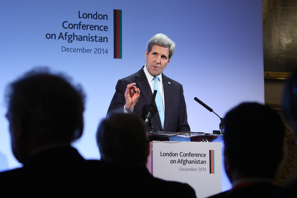 Click photo to download. Caption: Secretary of State John Kerry speaks at the London Conference on Afghanistan in December 2014. Credit: DFID - UK Department for International Development via Wikimedia Commons.