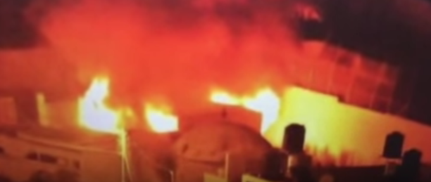 The fire at Joseph's Tomb. Credit: YouTube.