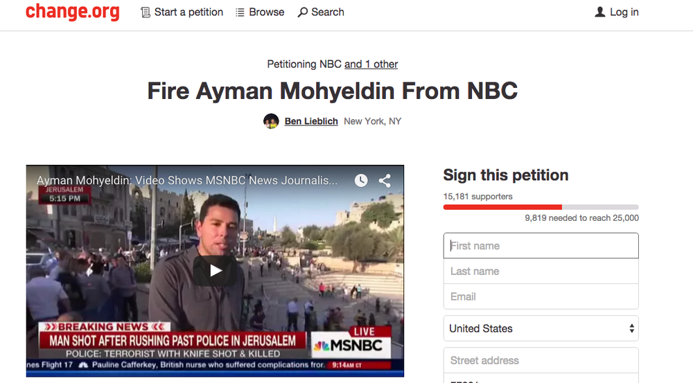 The petition calling for the firing of MSNBC reporter Ayman Mohyeldin over his misleading reporting on a Jerusalem stabbing. Credit: Change.org.