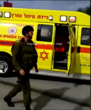 The scene of Monday's stabbing near Hebron. Credit: Screenshot via Hatzolah Judea and Samaria.