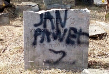Defaced Jewish headstones in a Polish Jewish cemetery (illustrative). Credit: Adam Szydlowski.