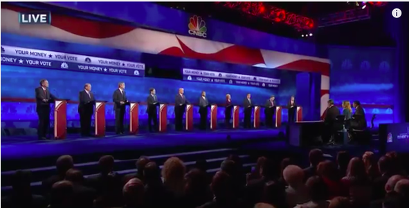 The first-tier candidate GOP debate on CNBC. Credit: Screenshot from YouTube.