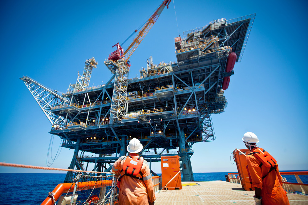 Click photo to download. Caption: Workers on a rig in Israel's Tamar offshore gas field, which is jointly operated by Houston-based Noble Energy and the Israeli company Delek Group. Credit: Moshe Shai/Flash90.