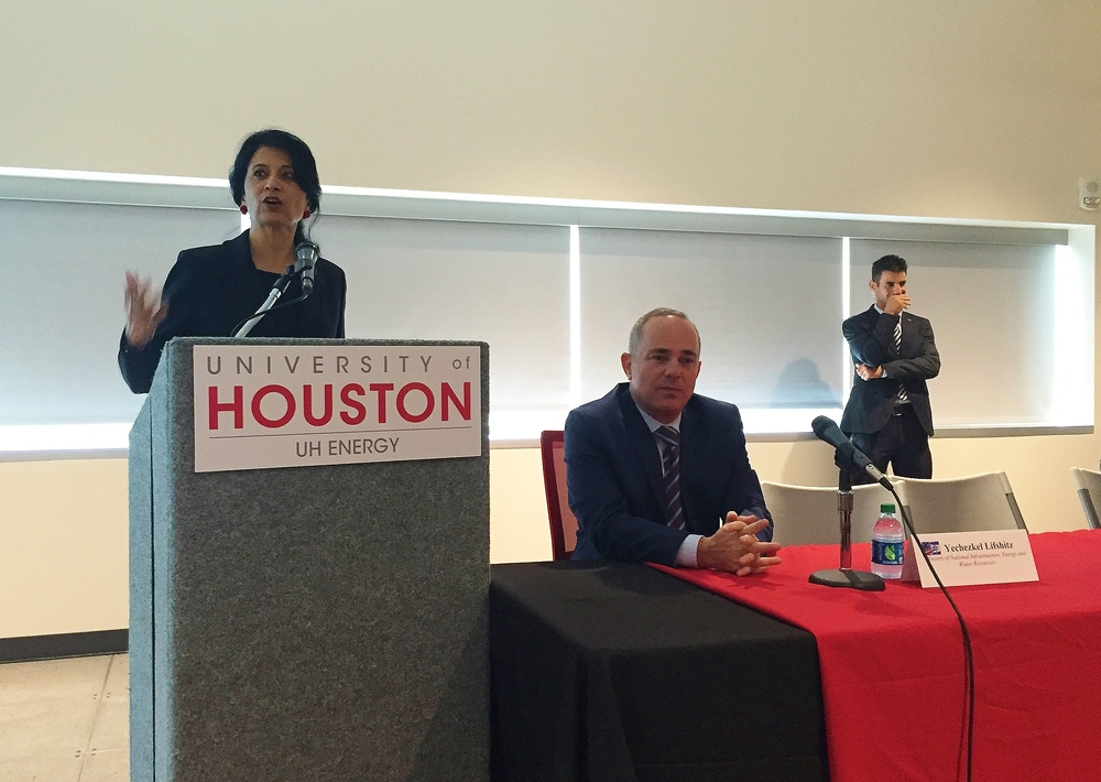 Click photo to download. Caption: University of Houston Chancellor and President Rhenu Khator (left) speaks at an Oct. 20 event in Houston that featured Yuval Steinitz (center), Israel's minister of infrastructure, energy, and water. Credit: Israel Trade & Economic Office U.S. Southern Region.