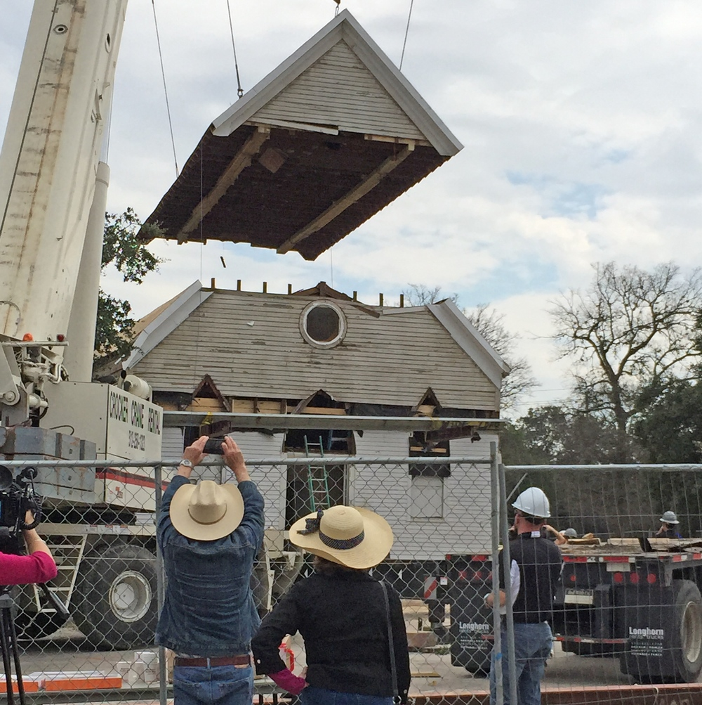 Click photo to download. Caption: The roof of the formerly Brenham, Texas-based B'nai Abraham Synagogue building is re-assembled on the Dell Jewish Community Campus in Austin. Credit: Julie Zweig.