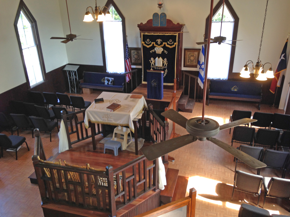 Click photo to download. Caption: The interior of the B'nai Abraham Synagogue building, which has relocated from Brenham, Texas, to the Dell Jewish Community Campus in Austin. Credit: Jay Rubin.
