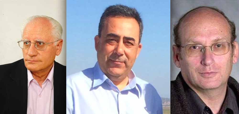 Click photo to download. Caption: Pictured from left to right (in accordance with their self-described political leanings) are Israeli scholars Sammy Smooha, As'ad Ghanem, and Eli Pollak. Credit: Provided photos.