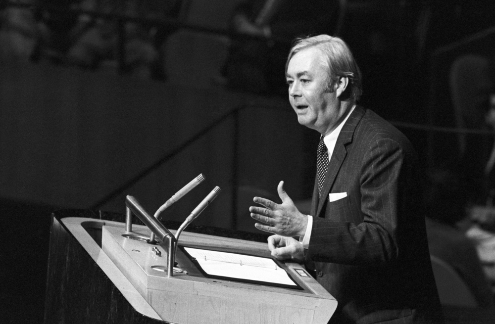 "Click photo to download. Caption: Daniel Patrick Moynihan, then the American ambassador to the United Nations, addresses the U.N. General Assembly on Nov. 10, 1975, the day the General Assembly adopted the  ""Zionism is racism"" resolution. Moynihan said that the U.S. ""will never acquiesce in this infamous act."" Credit: UN Photo/Teddy Chen."