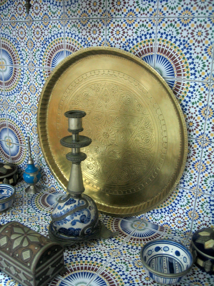 Click photo to download. Caption: Jewish, Arabic, and Berber handicraft on display at a restaurant in Essaouira, Morocco. Credit: Anderson Sady via Wikimedia Commons.