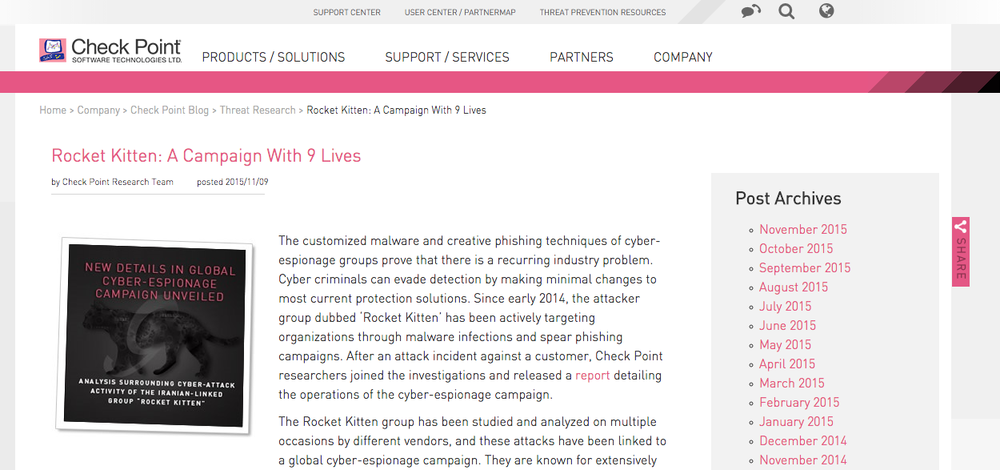 The new Check Point Software report on cyber espionage. Credit: Check Point Software.