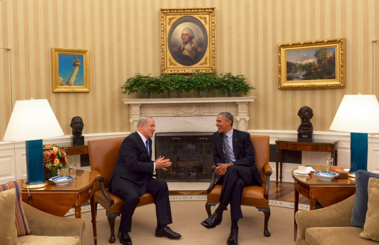 Click photo to download. Caption: Prime Minister Benjamin Netanyahu and President Barack Obama meet at the White House on Monday. Credit: Prime Minister's Office.