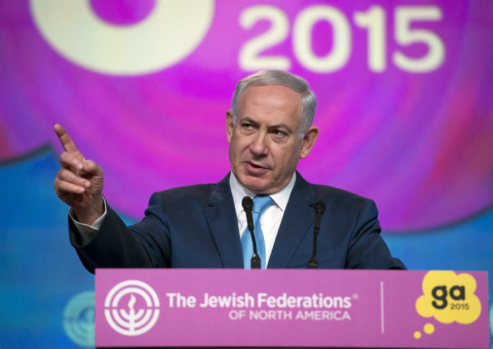 Click photo to download. Caption: Prime Minister Benjamin Netanyahu addresses the General Assembly of The Jewish Federations of North America on Tuesday in Washington, DC. Credit: Ron Sachs.