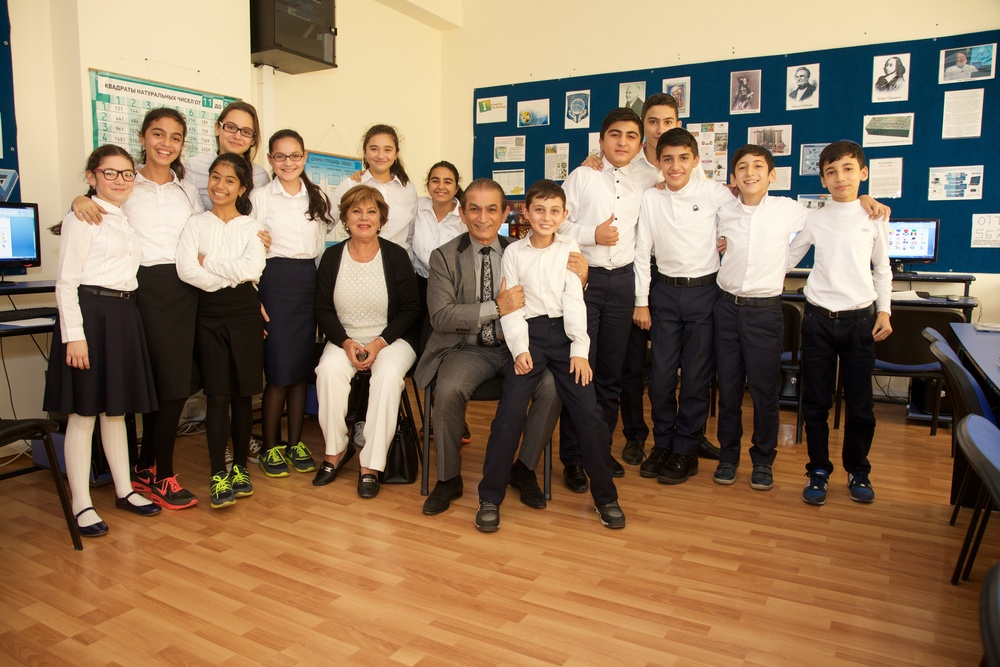 Click photo to download. Caption: Middle school students at Chabad Or Avner Jewish Day School, located in a suburb of Baku, Azerbaijan, with visitors from Sinai Temple of Los Angeles. Credit: Michael Silberstein.