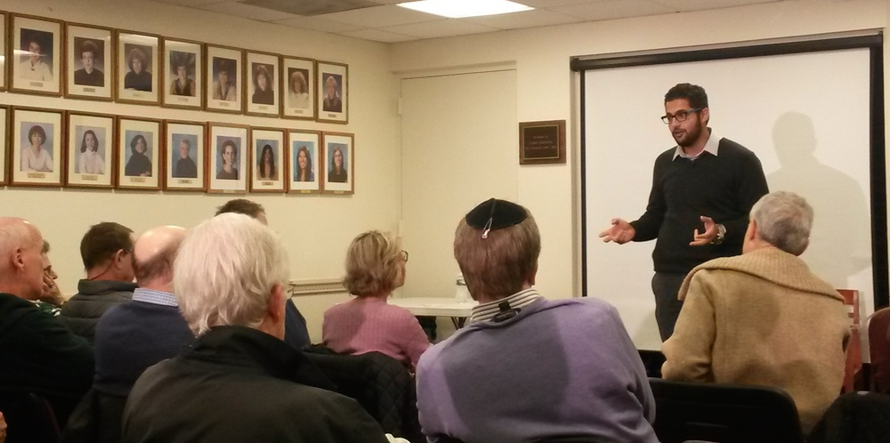 Click photo to download. Caption: Hussein Aboubakr Mansour (pictured at right, standing) speaks at the Jewish Community Center of Stamford, Conn. Credit: Courtesy StandWithUs.
