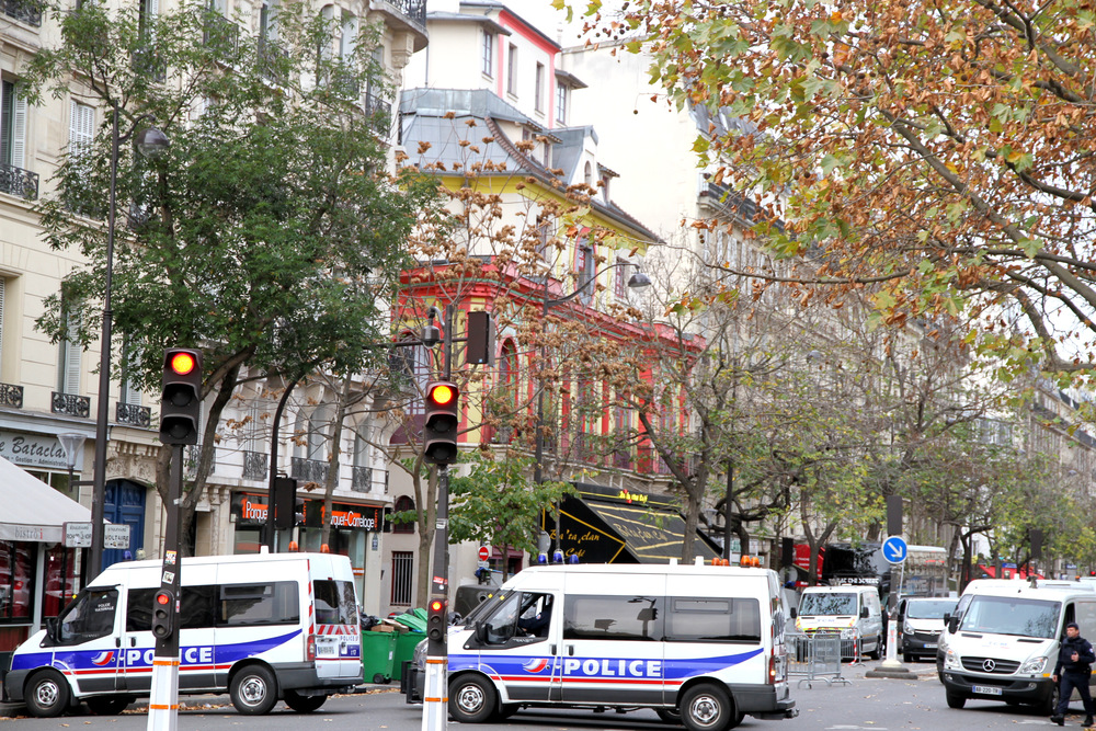 Click photo to download. Caption: French police gathering evidence at the Bataclan theater on Nov. 14, the day after the theater suffered the deadliest of six coordinated Islamist terror attacks in Paris. Credit: Maya-Anaïs Yataghène via Wikimedia Commons.