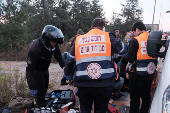 Magen David Adom emergency responders on the scene of a Palestinian terror attack that killed three people on Thursday in Gush Etzion, Israel. Credit: Twitter.