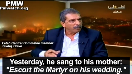 On Palestinian Authority television, Palestinian Fatah official Tawfiq Tirawi praises his 2-year-old son's desire to shoot Israelis. Credit: Palestinian Media Watch.