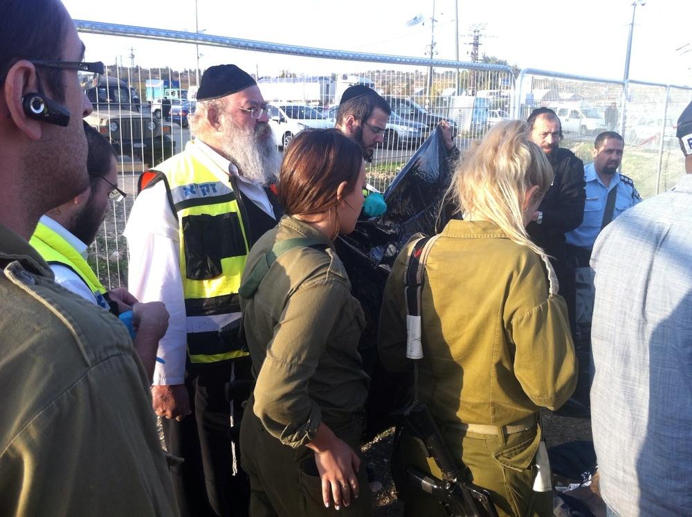 The Israeli emergency response group ZAKA responds to Sunday's fatal stabbing attack in Gush Etzion. Credit: Courtesy ZAKA.