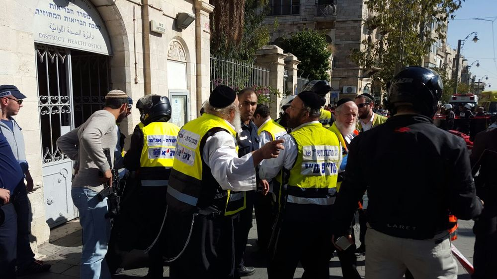Israeli ZAKA volunteers responded to Monday's stabbing attack outside Mahane Yehuda market in Jerusalem. Credit: Courtesy ZAKA.
