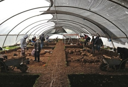 An excavation site in the Galilee reveals the agricultural revolution throughout the region some 10,000 years ago. Credit: Israel Antiquities Authority.
