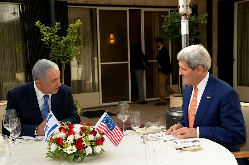 Prime Minister Benjamin Netanyahu and Secretary of State John Kerry meet in Jerusalem on Tuesday. Kerry, in comments before the meeting, mentioned American victim of Palestinian terror Ezra Schwartz. Credit: PM of Israel via Twitter.