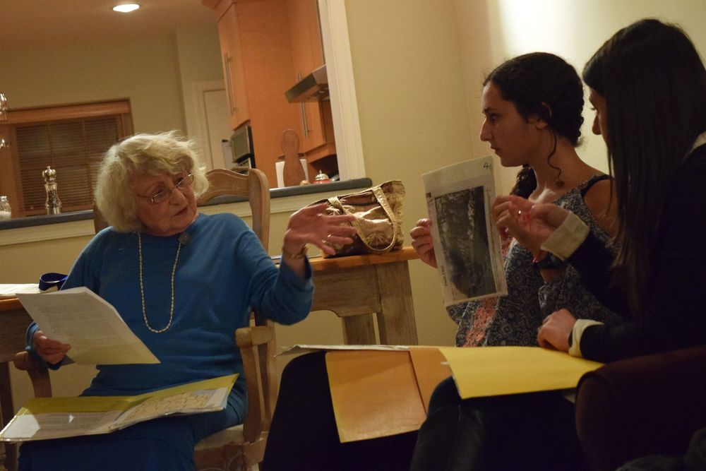"Click photo to download. Caption: Holocaust survivor Erica Van Adelsberg visits with Kol Echad BBG (B'nai B'rith Girls) members of the Philadelphia Main Line area during BBYO's global Shabbat, dubbed ""A Shabbat to Remember."" Credit: Provided photo."