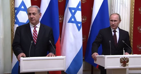 Israeli Prime Minister Benjamin Netanyahu and Russian President Vladimir Putin meet in November 2013. Credit: YouTube screenshot.