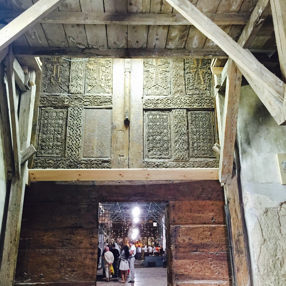 Click photo to download. Caption: The entrance to the Church of the Nativity, with its low doorway. Credit: Maayan Jaffe.