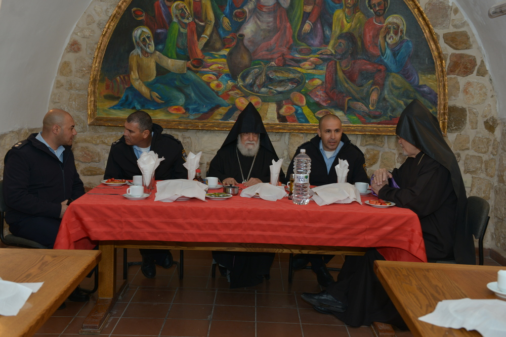 Click photo to download. Caption: Israeli officials visit with Armenian Christian leaders in Jerusalem to mark Armenian Christmas, which is celebrated Jan. 18-19 rather than Dec. 25. Credit: © Armenian Patriarchate of Jerusalem.
