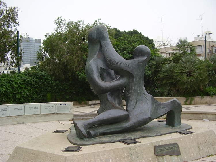 Click photo to download. Caption: A memorial in Tel Aviv for the 11 Israeli team members killed by Palestinian terrorists at the 1972 Munich Olympics. Credit: Avishai Teicher.