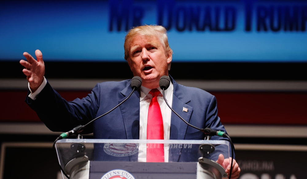 Donald Trump speaks at the South Carolina Freedom Summit on May 9, 2015. Credit: Michael Vadon via Wikimedia Commons.