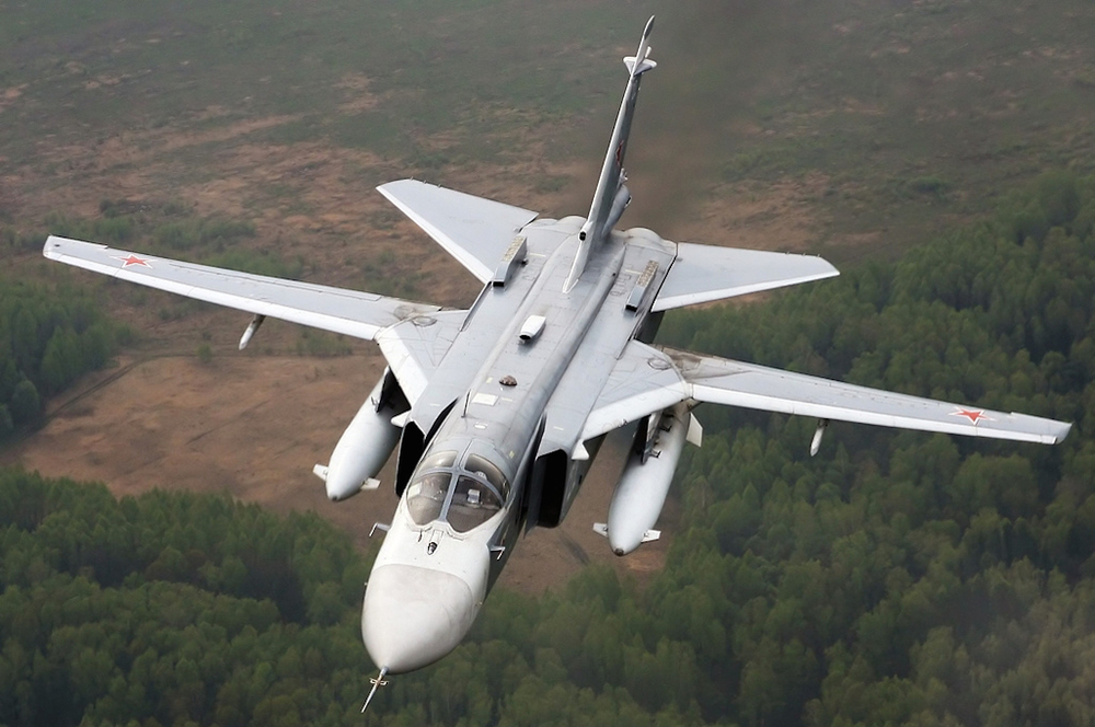 Click photo to download. Caption: A Russian Su-24 fighter jet. On Nov. 24, a Turkish F-16 fighter jet shot down a Russian Su-24 (not the one pictured here) near the Turkish-Syrian border, igniting the current tensions between Russia and Turkey. Credit: Alexander Mishin via Wikimedia Commons.