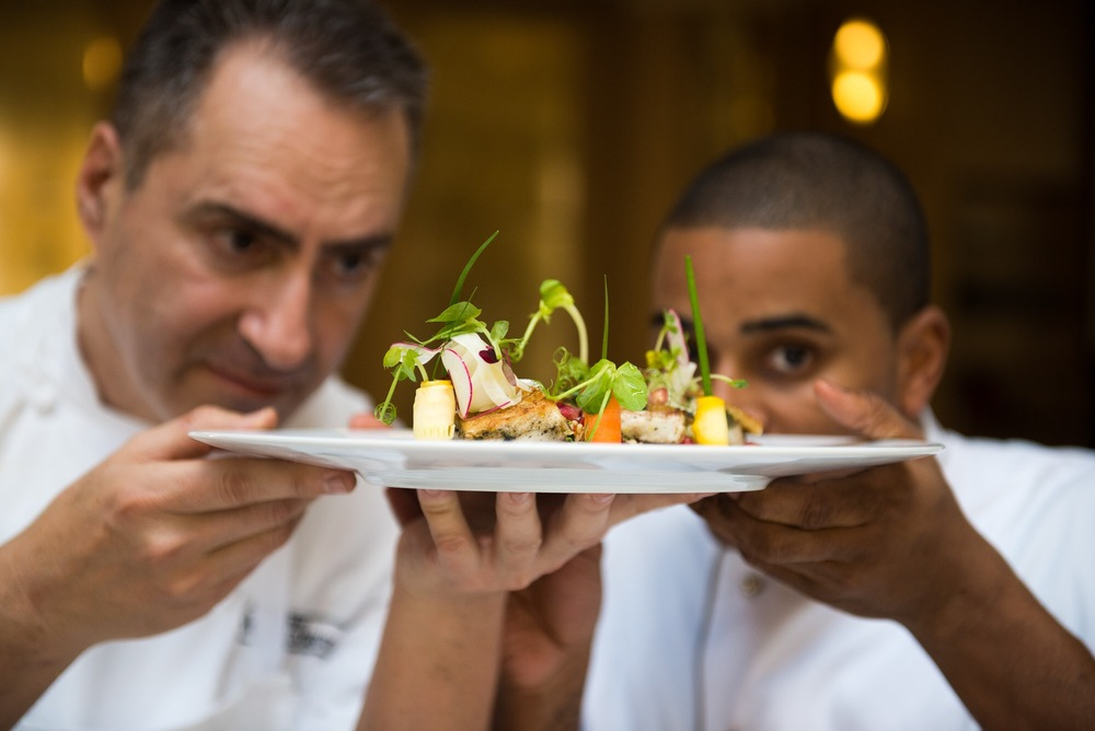 "Click photo to download. Caption: Chef Itzik Barak and Chef JJ Johnson, of the Waldorf Astoria Jerusalem, present their proposed iconic dish: ""The Seven Species."" Credit: Sarka Babicka."