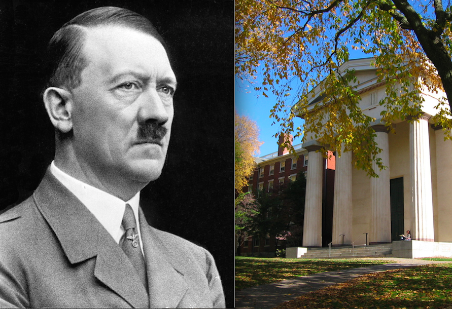 Click photo to download. Caption: Adolf Hitler and the campus of Brown University. Credit: Bundesarchiv, Bild and Wikimedia Commons.