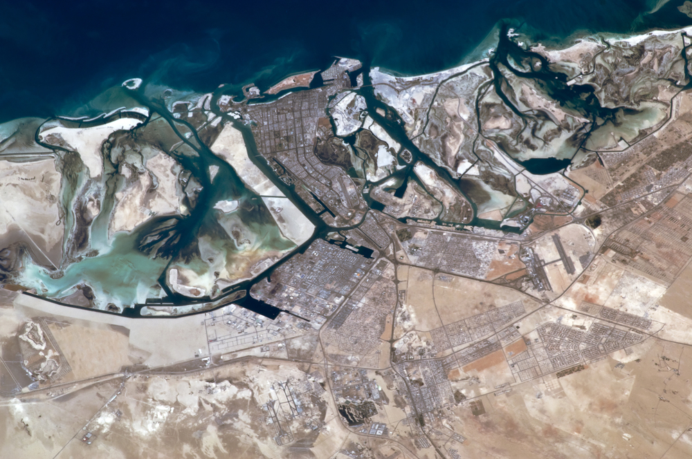 Click photo to download. Caption: An aerial view of Abu Dhabi, capital of the United Arab Emirates. Credit: NASA.