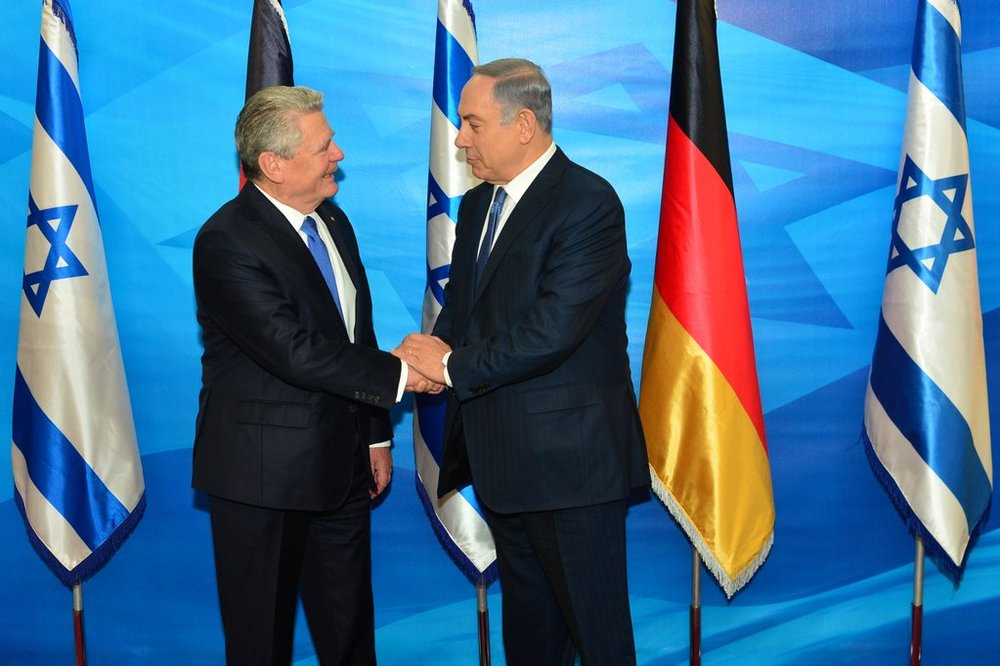 German President Joachim Gauck (left) meets Israeli Prime Minister Benjamin Netanyahu on Sunday in Jerusalem. Credit: PM of Israel via Twitter.