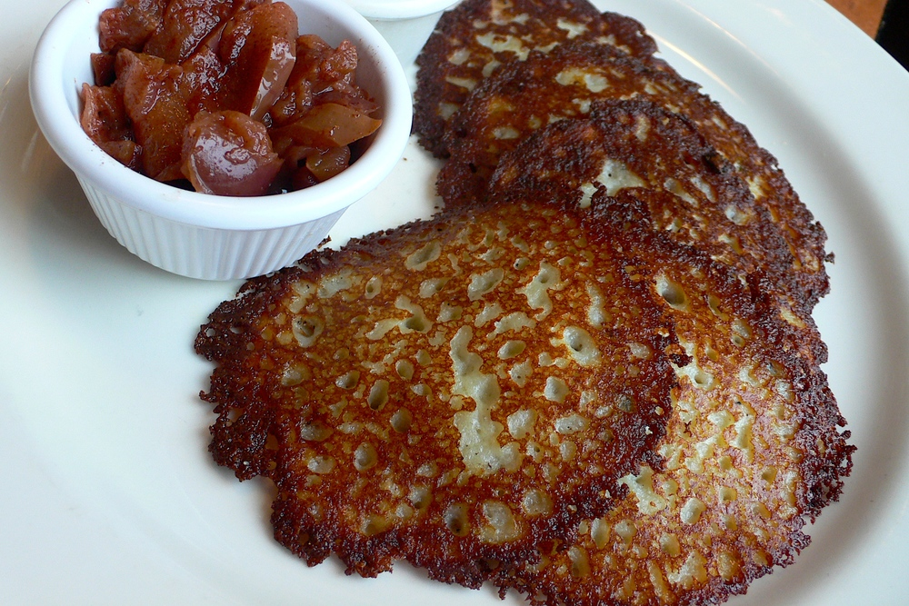 Hanukkah favorites like potato latkes (pictured)—or all fried foods, for that matter—pose a hazard to any diet. Credit: Mark Mitchell via Wikimedia Commons.