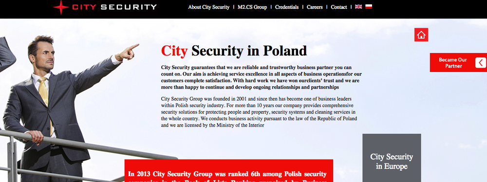 The website of the Polish company City Security. Credit: Screenshot.