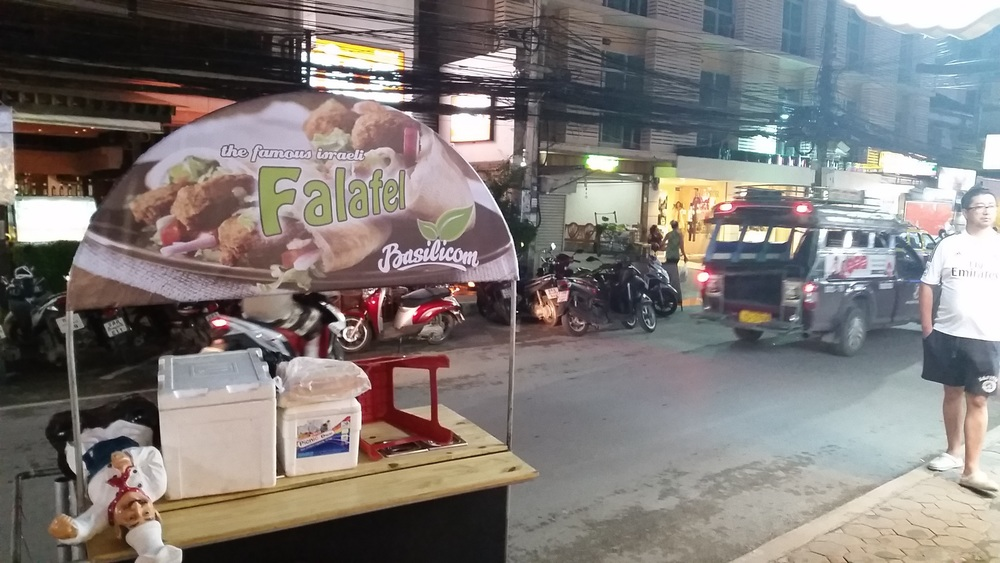 "Click photo to download. Caption: A cart selling ""the famous Israeli falafel"" in Ko Samui, Thailand. Credit: Orit Arfa."