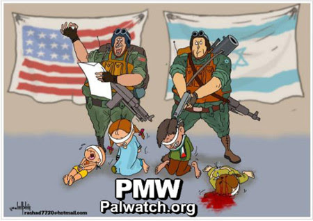 "The Fatah cartoon portraying U.S. support for Israeli ""executions"" of Palestinian children. Credit: Palestinian Media Watch."