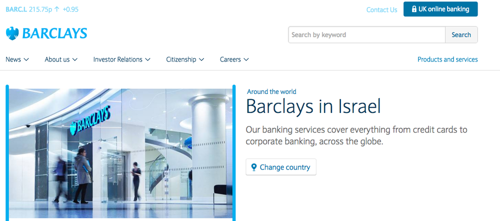 The homepage of the Barclays Israel website. Credit: Screenshot.