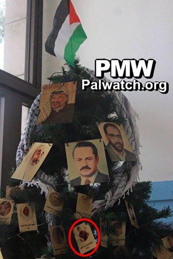 A Fatah student group's Christmas tree that glorifies Palestinian terrorists. Credit: Palestinian Media Watch.