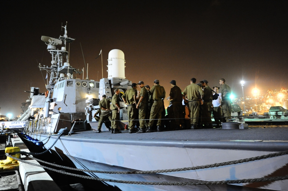 Click photo to download. Caption: On May 29, 2010, Israeli naval forces prepare to implement the Israeli government's decision to prevent a Turkish flotilla from breaching the maritime blockade on the Gaza Strip. Two days later, clashes aboard the Mavi Marmara flotilla that resulted in the deaths of nine Turkish militants spawned the deterioration of Israel-Turkey relations. Credit: Michael Shvadron, IDF Spokesperson's Unit.