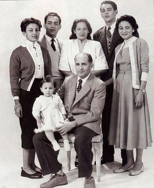 King Mohammed V of Morocco and his family in 1954. Credit: Wikimedia Commons.