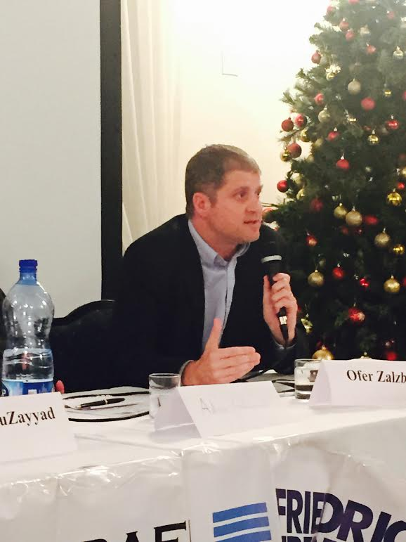 Ofer Zalzberg, senior analyst with the Middle East Program of the International Crisis Group, speaking at the Palestine-Israel Journal event.