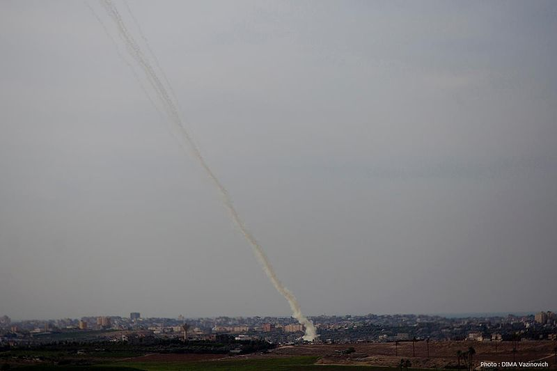 A rocket being launched from Gaza at Israel. Credit: Wikimedia Commons.