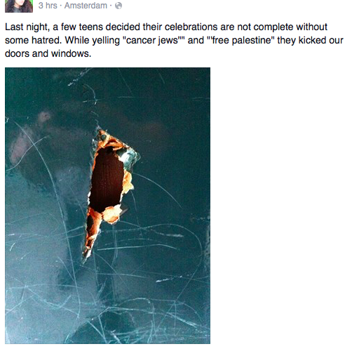 The Facebook post that described an attack on a Jewish family in Amsterdam. Credit: Facebook.